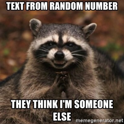 evil raccoon - text from random number they think i'm someone else