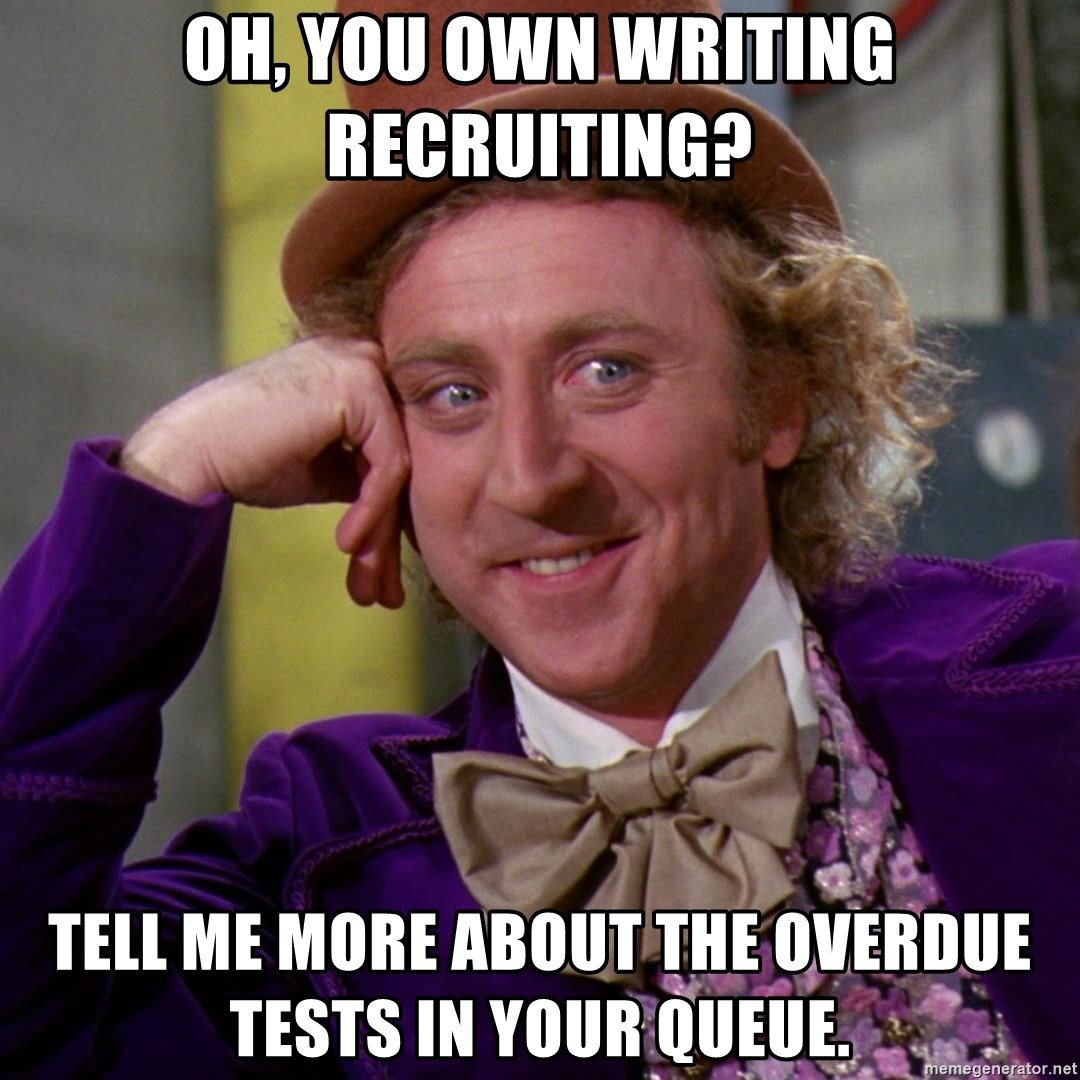 Willy Wonka - oh, you own writing recruiting? tell me more about the overdue tests in your queue.