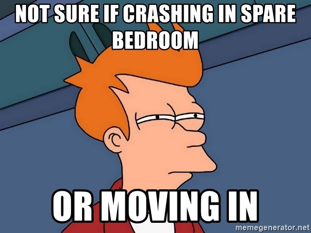 Futurama Fry - not sure if crashing in spare bedroom or moving in