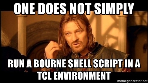 Lord Of The Rings Boromir One Does Not Simply Mordor - One Does not Simply run a bourne shell script in a tcl environment