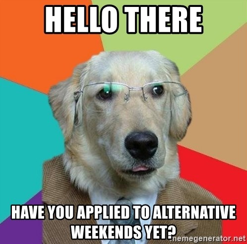 Business Dog - Hello There Have you Applied to Alternative Weekends Yet?