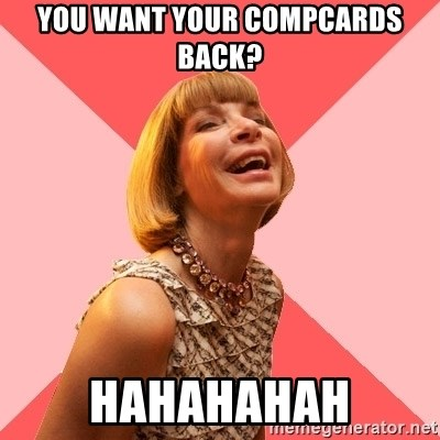Amused Anna Wintour - You want your compcards back? hahahahah