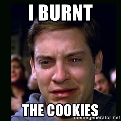 crying peter parker - I BURNT THE COOKIES