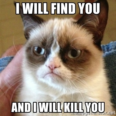 Grumpy Cat  - I WILL FIND YOU AND I WILL KILL YOU