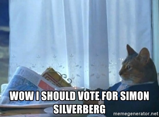 Sophisticated Cat -  Wow i should vote for simon silverberg