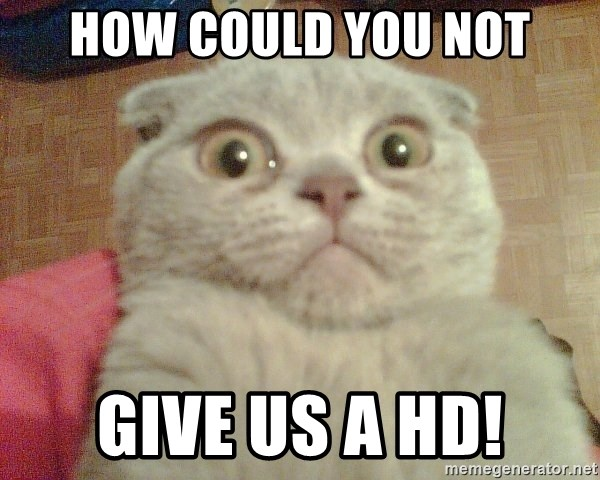GEEZUS cat - HOW COULD YOU NOT GIVE US A HD!