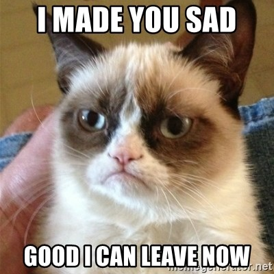 Grumpy Cat  - I made you sad  good i can leave now