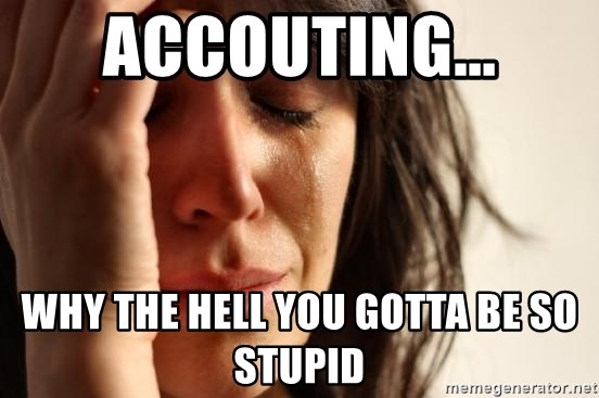 First World Problems - accouting... why the hell you gotta be so stupid