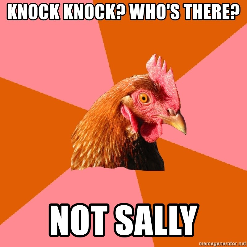 Anti Joke Chicken - KNOCK KNOCK? WHO'S THERE? NOT SALLY