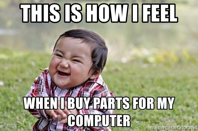 evil asian plotting baby - this is how i feel when i buy parts for my computer