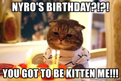 Birthday Cat - NYRO'S BIRTHDAY?!?! YOU GOT TO BE KITTEN ME!!!