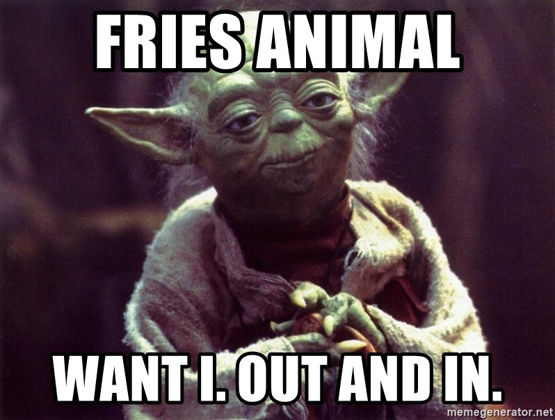 Yoda - Fries animal Want I. Out and in.