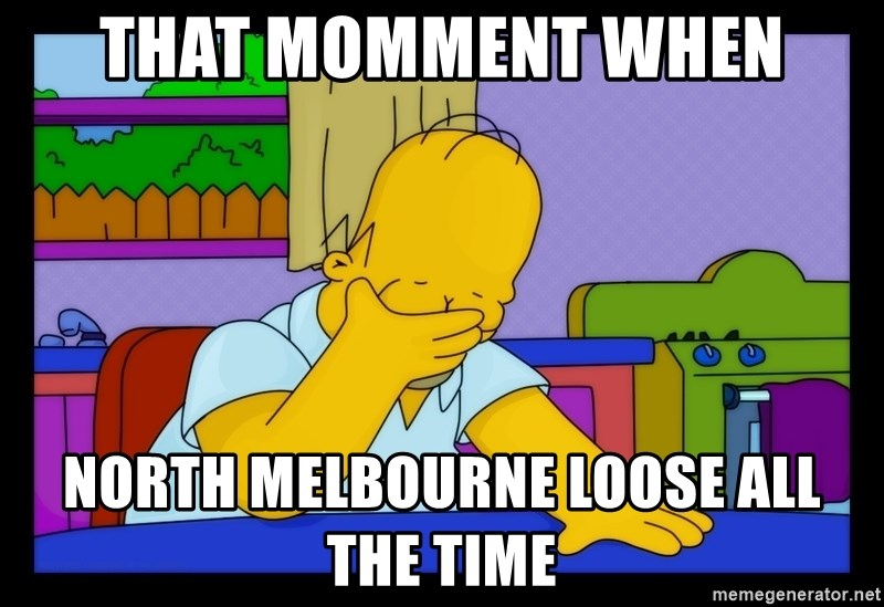 Homer Facepalm - that momment when north melbourne loose all the time
