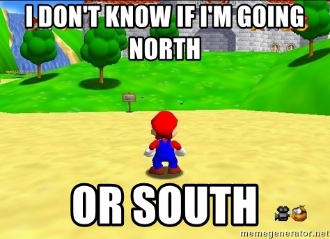 Mario looking at castle - I don't know if I'm going north or south