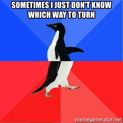 Socially Awkward to Awesome Penguin - sometimes i just don't know which way to turn