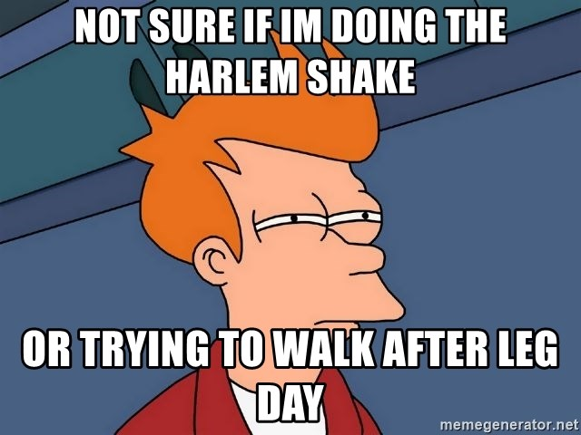Futurama Fry - Not sure if im doing the harlem shake Or trying to walk after leg day