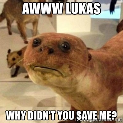 Sad Otter - AWWW LUKAS  WHY DIDN'T YOU SAVE ME?