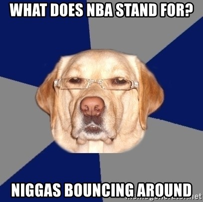 Racist Dawg - what does nba stand for? niggas bouncing around