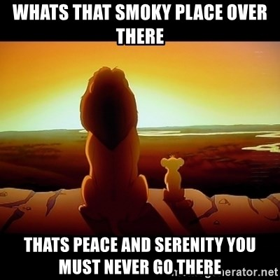 Simba - WHATS THAT SMOKY PLACE OVER THERE THATS PEACE AND SERENITY YOU MUST NEVER GO THERE