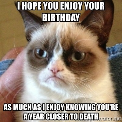 Grumpy Cat  - I HOpe you enjoy your birthday as much as I enjoy knowing you're a year closer to death