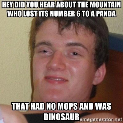 Stoner Stanley - hey did you hear about the mountain who lost its number 6 to a panda  that had no mops and was dinosaur