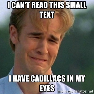 Crying Dawson - i can't read this small text i have cadillacs in my eyes