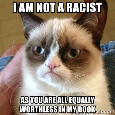 Grumpy Cat  - I am not a racist as you are all equally worthless in my book