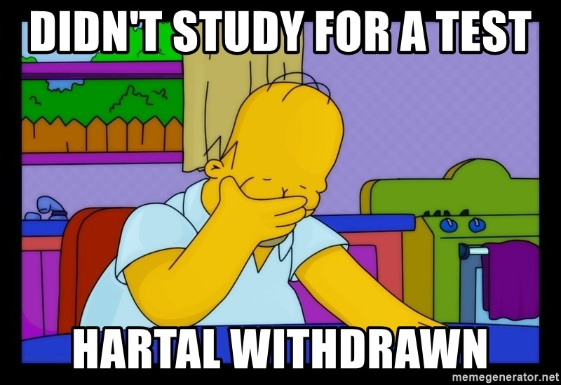 Homer Facepalm - didn't study for a test hartal withdrawn