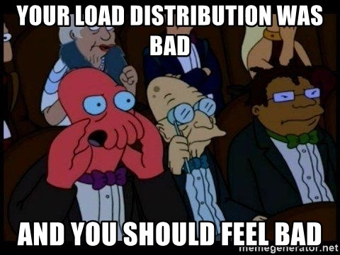 Zoidberg - Your load distribution was bad and you should feel bad