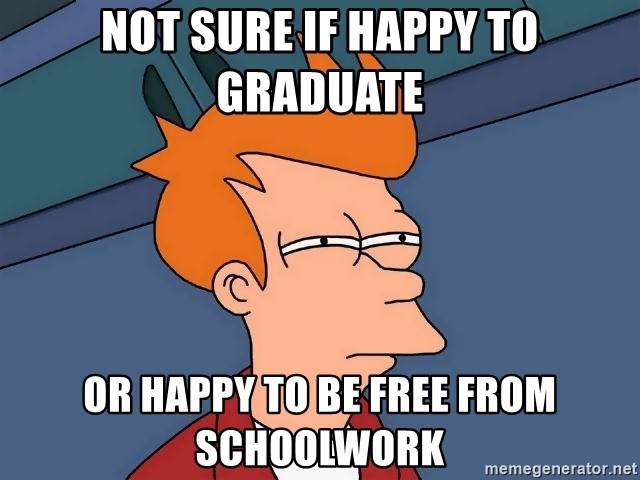 Futurama Fry - Not sure if happy to graduate or happy to be free from schoolwork