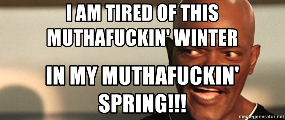 Snakes on a plane Samuel L Jackson - i am tired of this muthafuckin' winter in my muthafuckin' spring!!!