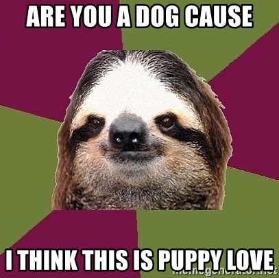 Just-Lazy-Sloth - ARE YOU A DOG CAUSE I THINK THIS IS PUPPY LOVE