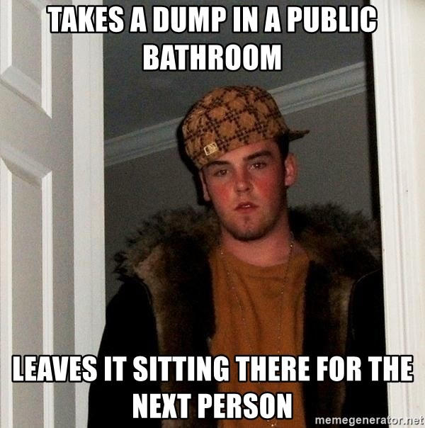 Scumbag Steve - takes a dump in a public  bathroom leaves it sitting there for the next person