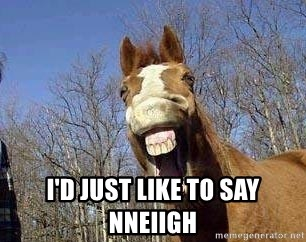Horse -  I'd just like to say nneiigh
