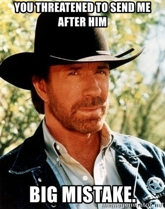 Brutal Chuck Norris - you threatened to send me after him big mistake.
