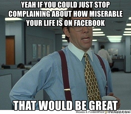 That would be great - Yeah if you could just stop complaining about how miserable your life is on facebook That would be great