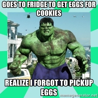 THe Incredible hulk - GoeS to Fridge to Get Eggs for cookies realize i forgot to pickup eggs