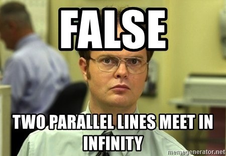 Dwight Schrute - False two parallel lines meet in infinity
