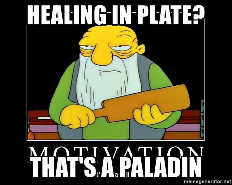Thats a paddlin - Healing in plate? That's a Paladin