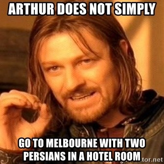 One Does Not Simply - arthur does not simply  go to melbourne with two persians in a hotel room