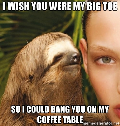 The Rape Sloth - i wish you were my big toe so i could bang you on my coffee table