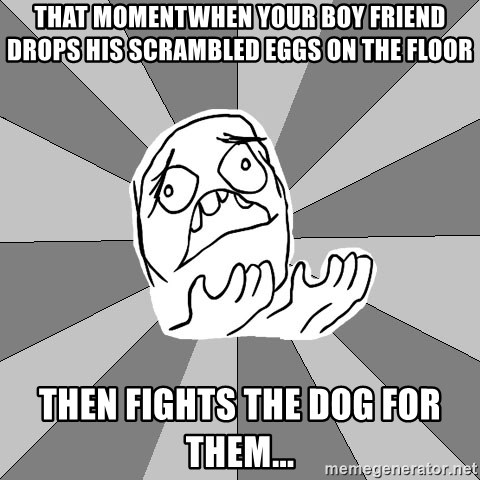 Whyyy??? - THAT MOMENTWHEN YOUR BOY friend drops his scrAMBLED EGGS ON THE FLOOR THEN FIGHTS THE DOG FOR THEM...