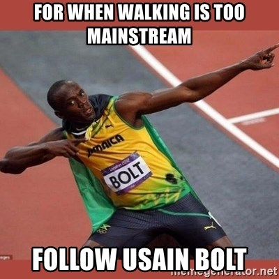 USAIN BOLT POINTING - For when walking is too mainstream follow usain bolt