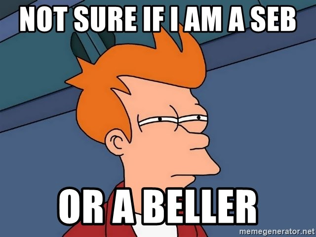 Futurama Fry - not sure if i am a seb or a beller