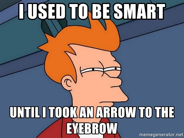 Futurama Fry - I used to be smart until i took an arrow to the eyebrow