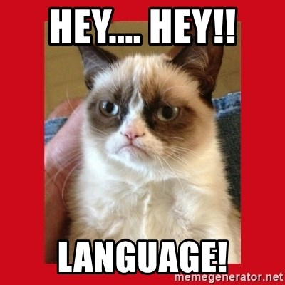 No cat - HEY.... HEY!! Language!