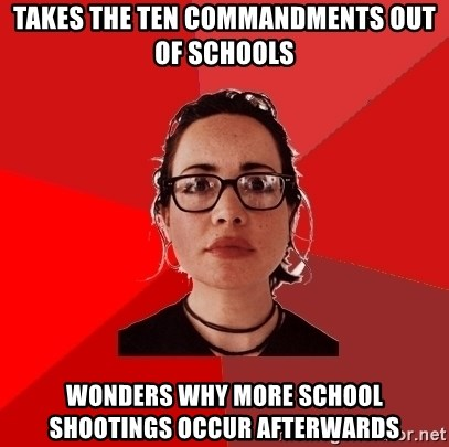 Liberal Douche Garofalo - takes the ten commandments out of schools wonders why more school shootings occur afterwards