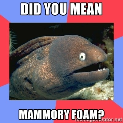 Bad Joke Eels - did you mean mammory foam?
