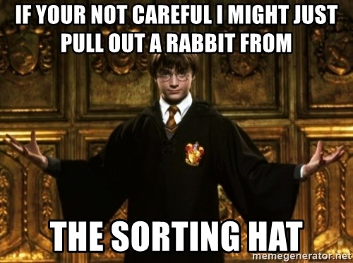 Harry Potter Come At Me Bro - IF YOUR NOT CAREFUL I MIGHT JUST PULL OUT A RABBIT FROM THE SORTING HAT
