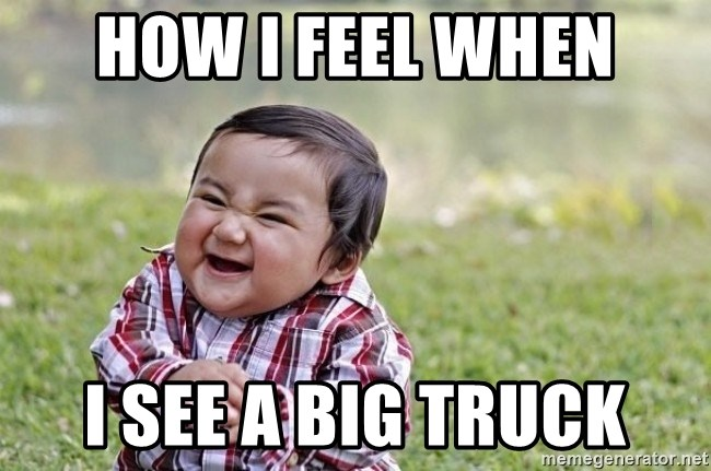 evil asian plotting baby - How I feel when I see a big truck